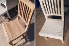 Židle před a po opískování