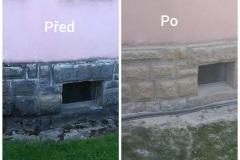 pískování kammeného základu domu