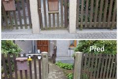pískování kamnenných sloupů u na plotě