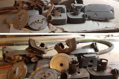 Pískování moto dilů před a po
