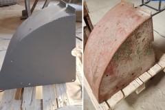 Strojní díly před a po pískování